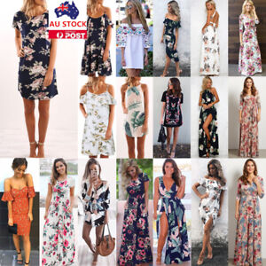 605943c79660 34 Styles Women Summer Boho Floral Maxi Long Mini Dress Beach ...