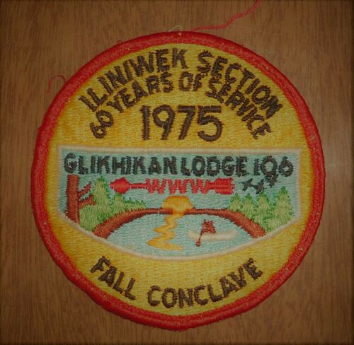 1975 Order of the Arrow BSA Patch Glikhikan Lodge 106 Fall Conclave Iliniwek
