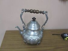 Vintage Italian Hand Crafted Pewter Tea Pot Kettle Etain 95%  Italy Wood Handle