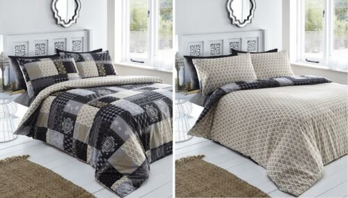 DOUBLE BED DUVET COVER SET REMI BLACK PATCHWORK GOLD FLORAL DAMASK ABSTRACT