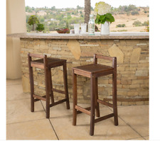 Set of 2 Natural Wood Bar Stool Indoor Outdoor 30 in Seat Height Patio Simple 34