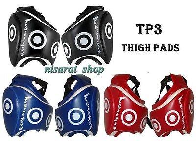 FAIRTEX THIGH PADS TP3 PRPTECTOR GUARDS MUAY THAI MMA BLUE RED BLACK