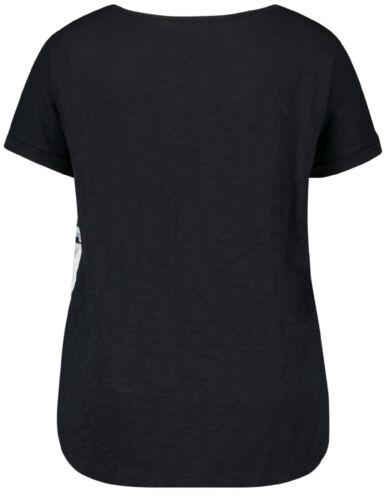 Samoon Baumwoll-Shirt mit Print by Gerry Weber Neu TShirt Rücken dblau Damen Gr.