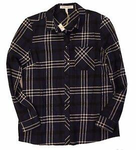 BCBGeneration-Women-039-s-Button-Up-Deep-Blue-Plaid-Flannel-Long-Sleeve-Shirt-Sz-M