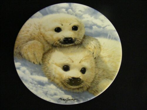 """BEAUTY of POLAR WILD LIFE"" Baby Seals – Mike Jackson PLATE wOrig. Box"