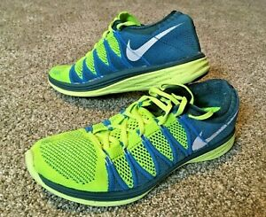 Details about Nike Flyknit Lunar 2 Men Athletic Running Training Shoes 9.5 YellowBlue