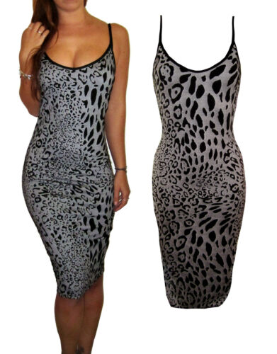 Peaches/&Cream Smart Bodycon Strappy Party Dress V Neck Black Animal Print 10 14