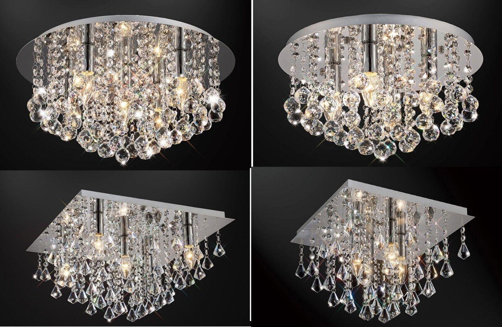 Véritable verre cristal neuf goutte pendentif lustre flush plafonnier neuf cristal 120a7f