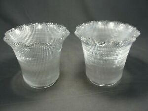 2-Antique-Holophane-Waffle-Prismatic-Glass-Light-Shades-3-1-8-034-W-Fitter-X-5-1-2-034-H