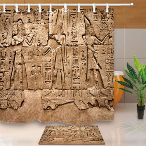 Jeroglíficas en el templo de Karnak Egipto Baño Cortina de ducha de tela impermeable