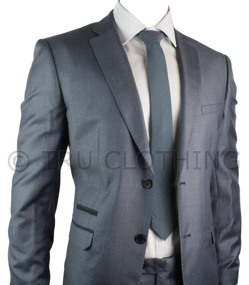 Mens bluee Slim Fit Suit 2 Button Stitch Trim Office Party Wedding Suit UK