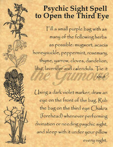 Details about Psychic Sight Spell to OPEN THE THIRD EYE, Book of Shadows  Spells Pages, Wicca