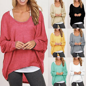 AU-Women-Oversized-Loose-Long-Sleeve-Shirt-Baggy-Plus-Tops-Blouse-Batwing-Jumper