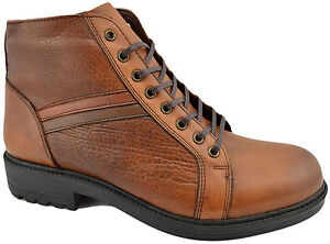 $215 REACTOR Tan Brown Calf Leather Ankle Boots Men Shoes
