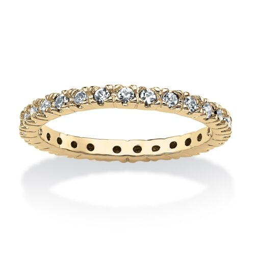 Birthstone 18k Gold-Plated Eternity Band-April-Simulated Birthstone