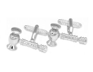 Silver-Tone-Mens-Cuff-Links-Judge-039-s-Gavel-Mens-Cufflinks