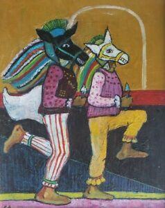 Signed Cesar Caracas El Güegüense Painting #2 Nicaraguan Artist Miami, Florida