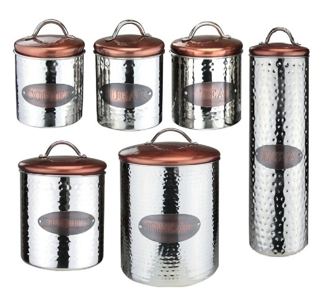 Vintage Copper Tea Coffee Sugar Bread Bin Biscuits Kitchen Storage Jars Canister