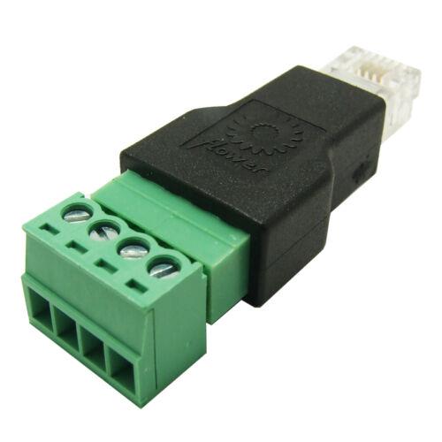 10Pcs RJ11 to Screw Terminal Adaptor RJ11 Male to 4 Pin connector RJ11 splitter