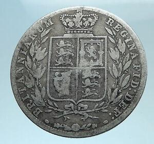 1880-UK-Great-Britain-United-Kingdom-QUEEN-VICTORIA-1-2-Crown-Silver-Coin-i78245