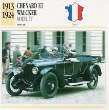 1913-1924 CHENARD ET WALCKER Model TT Classic Car Photograph / Info Maxi Card