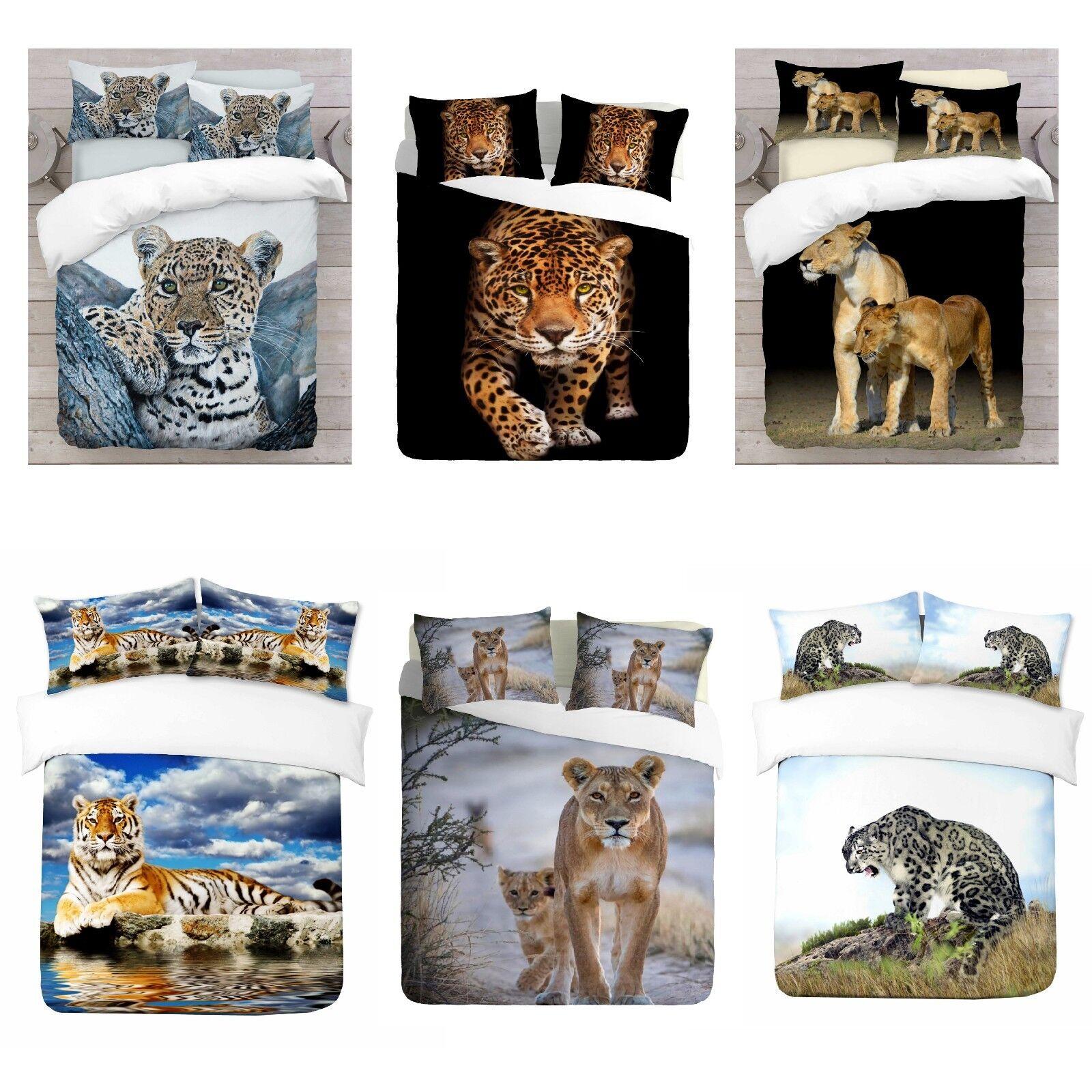 UK Made 3D Lions Design Photo Digital Duvet Quilt Startseite With Pillowcases