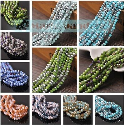 1000Pcs Mix Color Glass bead Loose Beads Spacer Rondelle Jewelery Findings 2mm#Q