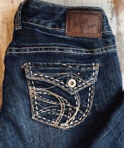 "NWT Junior /""Aryia/"" Stretch Dark Denim Wash Ripped Skinny Capri Jeans WG-232"