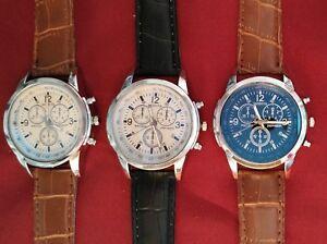 Fashion-Watch-Men-Women-Easy-To-Read-Style-Silver-Black-Brown-Band-Wristwatch-OZ