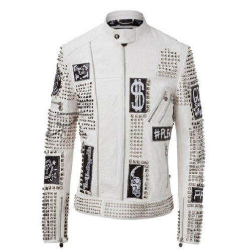 HANDMADE MENS FASHION JACKET WHITE REAL LEATHER SILVER STUDDED JACKETS FOR MEN