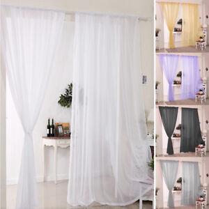 Plain-Voile-Curtains-2-Panels-Rod-Pocket-Net-Slot-Top-Window-Curtain-Home-Decors
