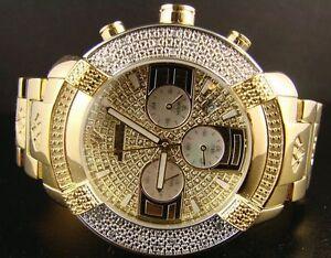Mens-Aqua-Master-Jojo-Jojino-Joe-Rodeo-Yellow-Metal-Band-45mm-Diamond-Watch-W-96
