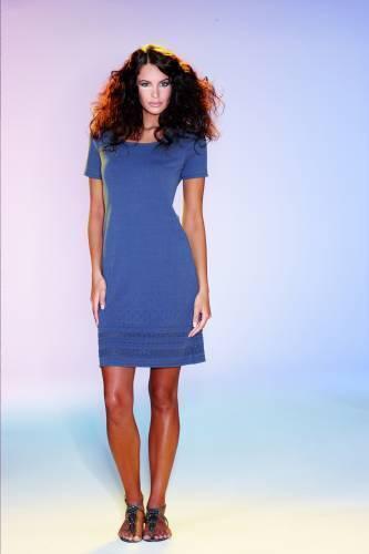 Baumwoll Strick Kleid dunkelblau Geiger 38