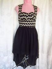 Epique Moi NWT Lace Black Gold Sleeveless Hi-Low Dress  Size M (T9-5D)