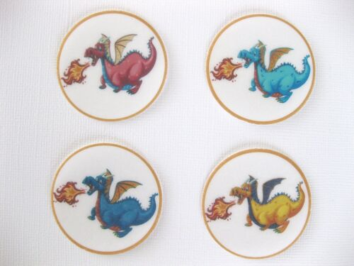 PRE CUT 12 EDIBLE RICE PAPER WAFER CARD DRAGON CAKE CUPCAKE PARTY TOPPERS