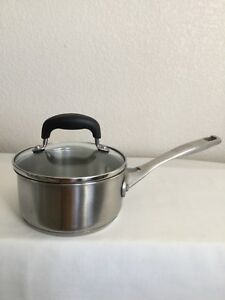 Details about 1 Qt Kitchen Essentials Calphalon Heavy Duty Saucepan  Stainless Steel w/Lid 8701