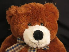 BIG PLUSH ANIMAL ALLEY BROWN BEAR BABY SOFT STUFFED PLUSH ANIMAL TOY GINGHAM BOW