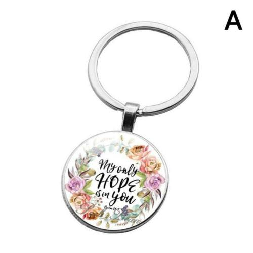 Bible Verse Key Chains Handmade Glass Key Ring Faith New Gifts Jewelry Chri G2U5
