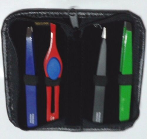 Eye Brow Tweezers PACK IN BEAUTY  LEATHER  CASE  ALL SURGICAL STEEL