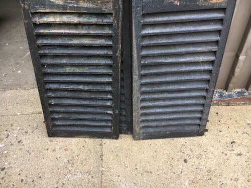 """PaiR c1850 fixed louver black window house shutter central MA 60/"""" x 16.5 x 1 3//8"""