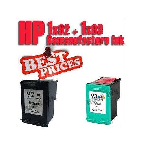 2pk Ink Cartridge for HP 92 93 PhotoSmart C3180 Printer