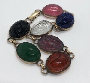 Vintage-Bracelet-1-20-12k-Gold-Filled-Scarab-Beetle-Egyptian-Revival-7