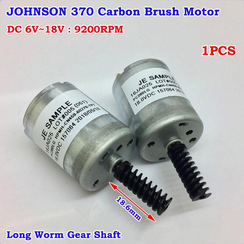 JOHNSON 370 Motor DC 6V 12V 18V 9200RPM Carbon Brush Motor Long Worm Gear Shaft