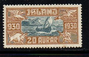 Iceland-Sc-C5-1920-20-aur-Fishing-Boat-Airmail-stamp-mint-Free-Shipping