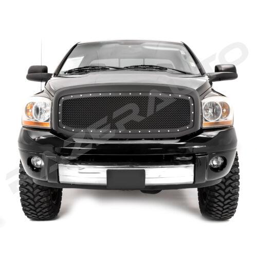 06-09 RAM 2500+3500 Front Hood Matte Black Mesh Grille+Rivet+Replacement Shell