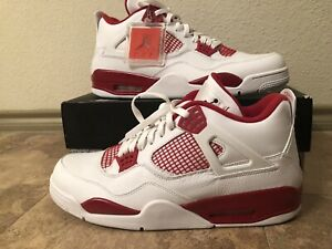 Nike Air Jordan 4 Retro Alternate 89 Size 14-18 White Black Gym Red 308497-106