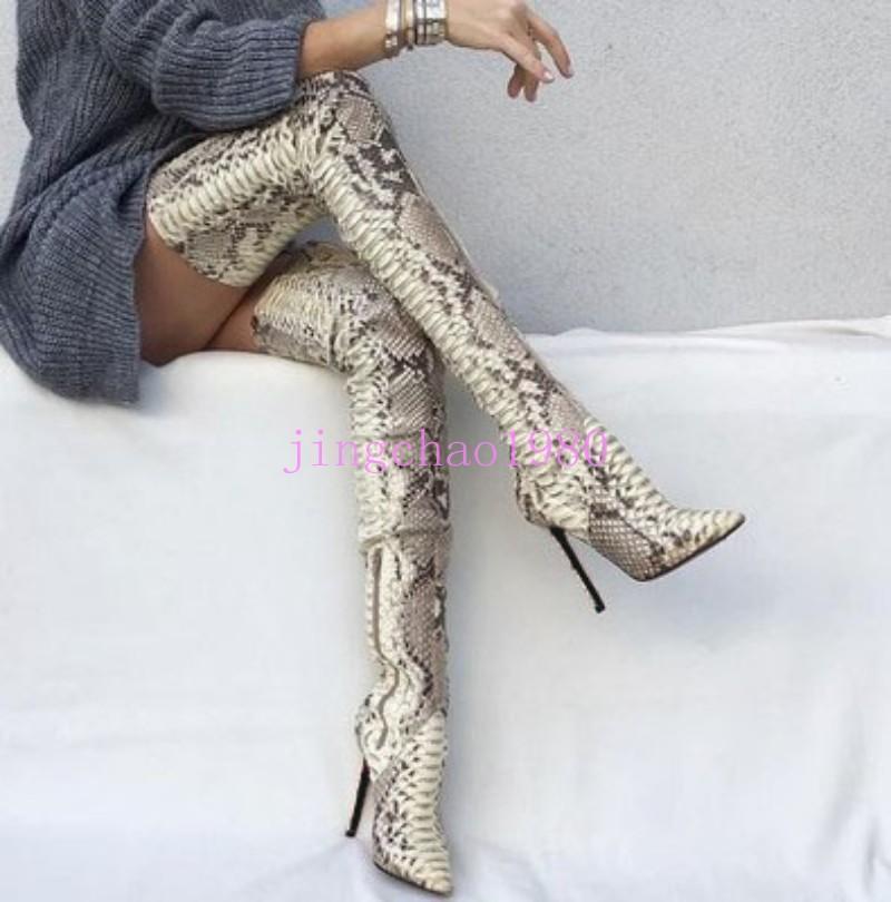 Para Mujer Piel De Serpiente Sobre Sobre Sobre la Rodilla alta botas Zapato Taco Alto del muslo Ropa de club arranque ch fd4a08