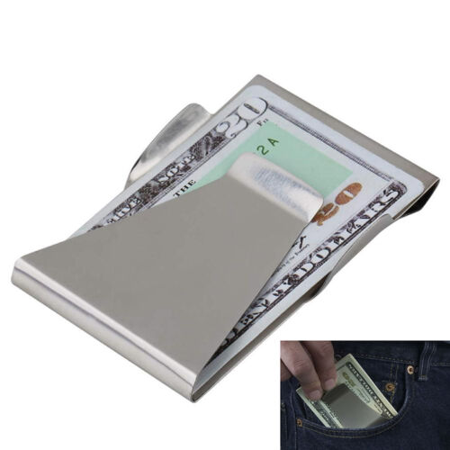 Pretty Fashion Slim Money Clip Double Sided Credit Card Holder Steel Wallet