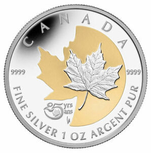 ✪ 2013 $5 The Silver Maple Leaf, 25th Anniversary - Silver Coin Gold Plating