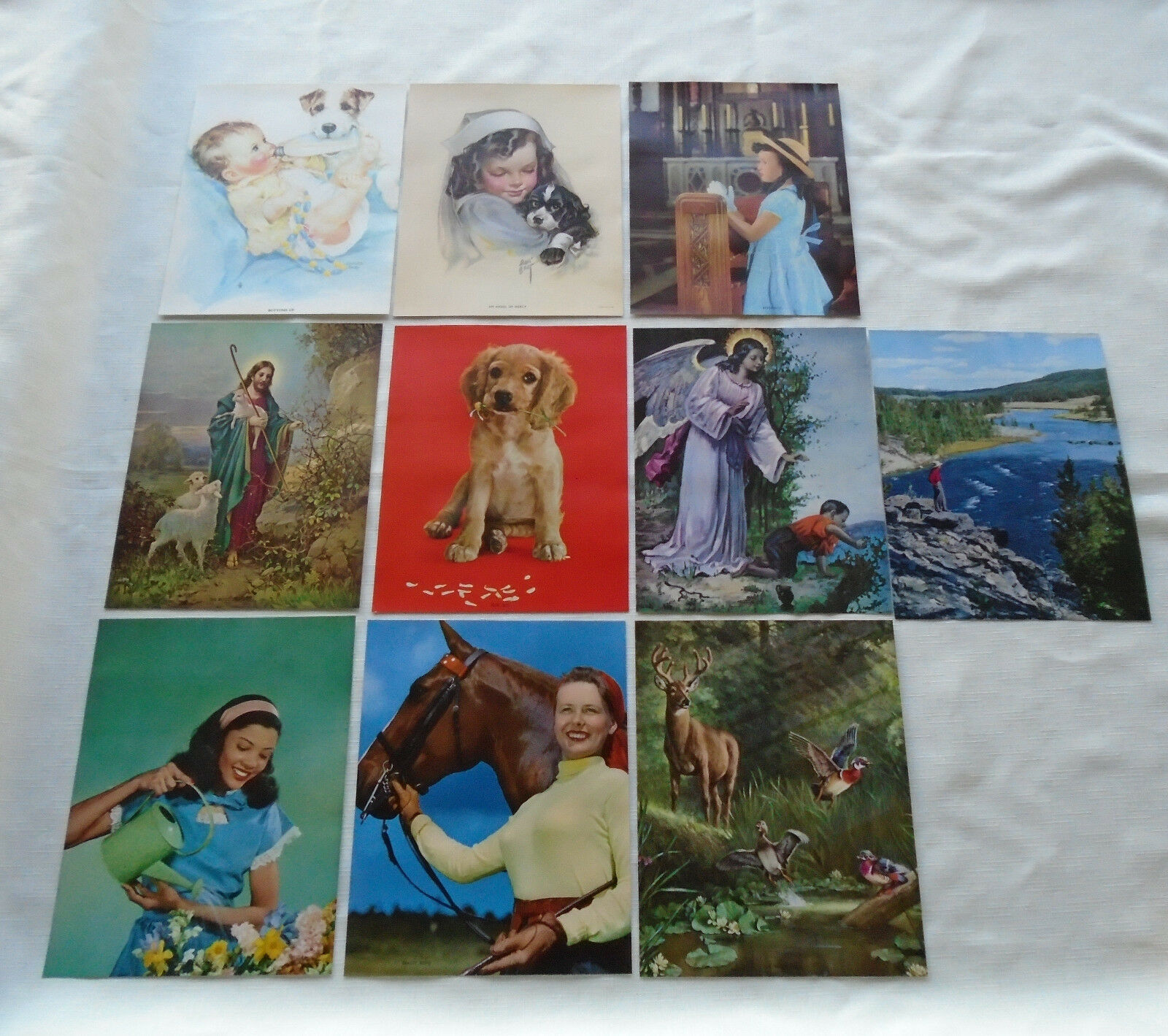 VTG 50s Lot of 10 Lithos Fishing Girl Dog Religious African American 7 x 9